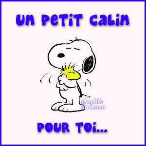 Snoopy et woodstock se font un calin